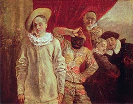 Watteau | Harlequin, Pierrot and Scapin, Actors from the Commedia dell'Arte, undated | Giclée Canvas Print