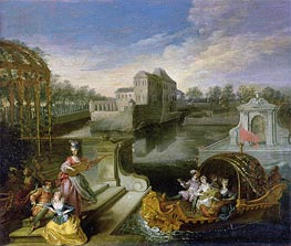 Watteau | The Spring: Fete Champetre in a Water Garden with Figures in a Boat, undated | Giclée Canvas Print