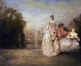 Watteau | The Two Cousins, c.1716 | Giclée Canvas Print