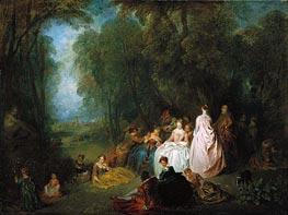 Watteau | Pastoral Gathering, c.1718/21 | Giclée Canvas Print
