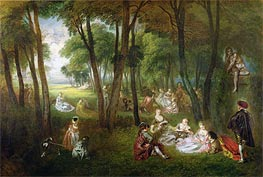 Watteau | Fete in a Park (Divertissements Champetres), c.1718/20 | Giclée Canvas Print