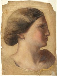 Ingres | Head of a Young Woman, c.1855 | Giclée Paper Print