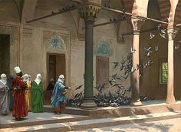 Gerome | Harem Women Feeding Pigeons in a Courtyard, 1894 | Giclée Canvas Print