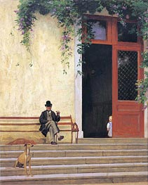 Gerome | The Artist's Father and Son on the Doorstep of His House, c.1866/67 | Giclée Canvas Print