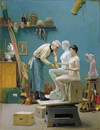 Gerome | Working in Marble (The Artist Sculpting Tanagra), 1890 | Giclée Canvas Print