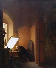 Gerome | Rembrandt Etching a Plate in His Atelier, 1861 | Giclée Canvas Print
