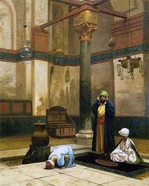Gerome | Three Worshippers Praying in a Corner of a Mosque, c.1880 | Giclée Canvas Print