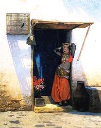 Gerome | Woman of Cairo at Her Door, 1897 | Giclée Canvas Print