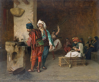 Cafe House, Cairo (Casting Bullets), c.1870 | Gerome | Painting Reproduction