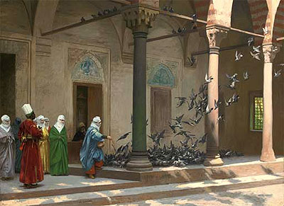 Harem Women Feeding Pigeons in a Courtyard, 1894   Gerome   Painting Reproduction