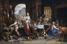 Kitchen Scene with the Parable of the Feast, 1605 by Joachim Wtewael | Giclée Canvas Print
