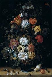 Johann Adalbert Angermeyer | Bouquet of Flowers with Animals, 1704 | Giclée Canvas Print