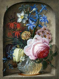 Johann Adalbert Angermeyer | Flowers in a Vase in a Stone Niche, 1719 | Giclée Canvas Print