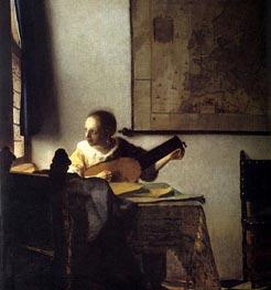 Vermeer | Woman with a Lute near a Window, c.1664 | Giclée Canvas Print