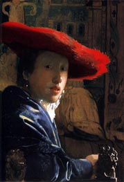 Vermeer | Girl with a Red Hat, c.1665/66 | Giclée Canvas Print