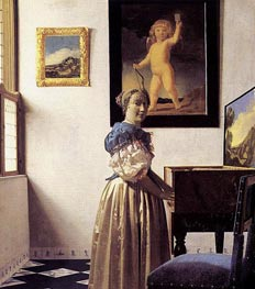 Vermeer | Young Woman Standing at a Virginal, c.1672/73 | Giclée Canvas Print