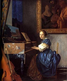 Vermeer | Lady Seated at a Virginal, c.1673/75 | Giclée Canvas Print