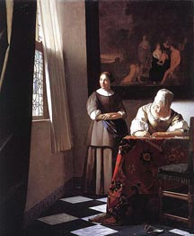 Vermeer | Lady Writing a Letter with Her Maid, c.1670 | Giclée Canvas Print