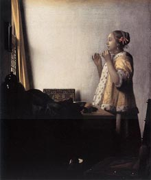 Vermeer | Woman with a Pearl Necklace | Giclée Canvas Print