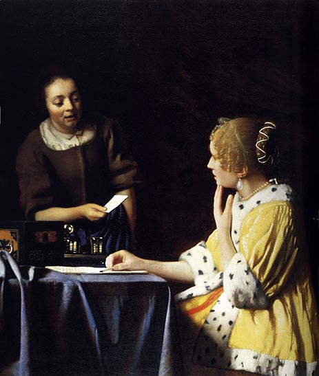 Mistress and Maid, c.1666/67 | Vermeer | Painting Reproduction