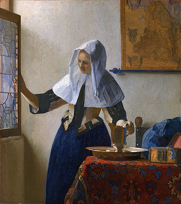 Young Woman with a Water Pitcher, c.1664/65   Vermeer   Painting Reproduction
