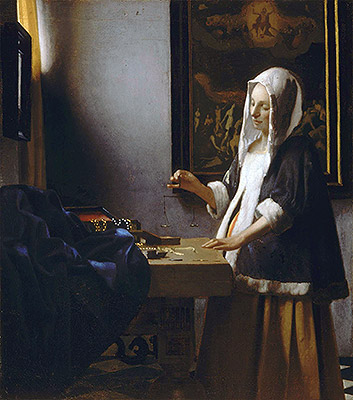 Woman Holding a Balance, c.1664   Vermeer   Painting Reproduction