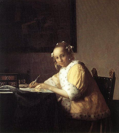 A Lady Writing a Letter, c.1665/66   Vermeer   Painting Reproduction