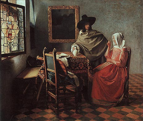 The Glass of Wine (Lady Drinking and a Gentleman), c.1658/60   Vermeer   Painting Reproduction