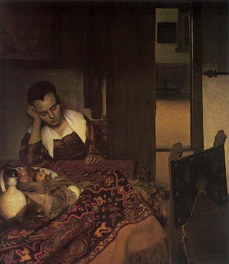 A Girl Asleep, c.1657   Vermeer   Painting Reproduction