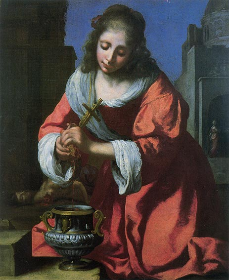 Saint Praxedis, 1655 | Vermeer | Painting Reproduction