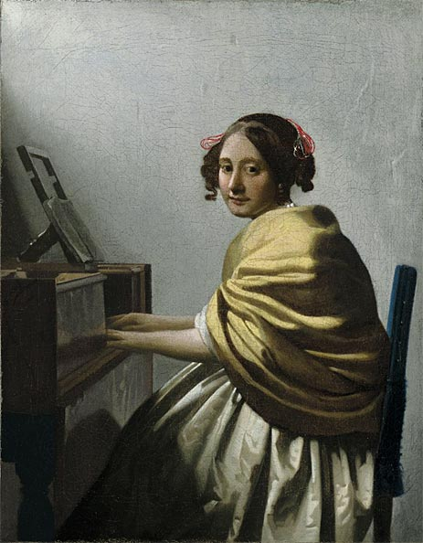 A Young Woman Seated at the Virginals, c.1670 | Vermeer | Painting Reproduction
