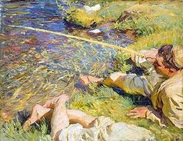 Sargent | Val d'Aosta: A Man Fishing, c.1907 | Giclée Canvas Print