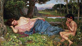 Waterhouse | Listening to My Sweet Pipings | Giclée Canvas Print