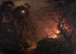 Wright of Derby   Cottage on Fire at Night, c.1785/93   Giclée Canvas Print