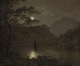 Wright of Derby   A Lake by Moonlight, c.1780/82   Giclée Canvas Print