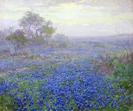 A Cloudy Day, Bluebonnets near San Antonio, Texas, 1918 by Julian Onderdonk | Giclée Canvas Print