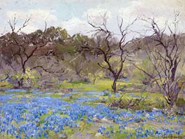 Early Spring, Bluebonnets and Mesquite, 1919 by Julian Onderdonk | Giclée Canvas Print