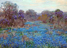 Field of Bluebonnets with Trees, undated by Julian Onderdonk | Giclée Canvas Print