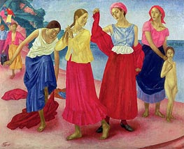 Kuzma Petrov-Vodkin | Young Women on the Volga, 1915 | Giclée Canvas Print