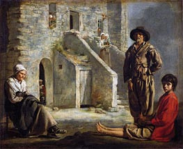 Le Nain Brothers | Peasants Before Their House, c.1641 | Giclée Canvas Print