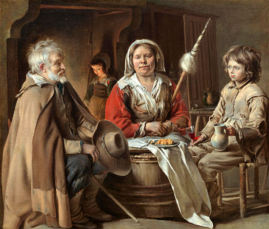 A French Interior, c.1645 | Le Nain Brothers | Painting Reproduction
