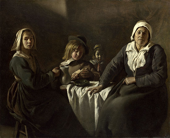 Four Figures at a Table, c.1643 | Le Nain Brothers | Painting Reproduction