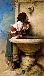 Leon Bonnat | Roman Girl at a Fountain, 1875 | Giclée Canvas Print
