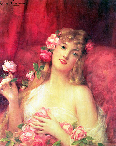 Woman with a Rose, undated   Leon Comerre   Painting Reproduction
