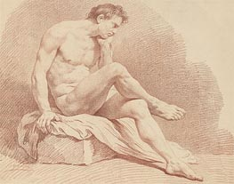 Lagrenee | Seated Male Nude, undated | Giclée Paper Print