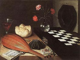 Lubin Baugin | Still-life with Chessboard (The Five Senses), 1630 | Giclée Canvas Print
