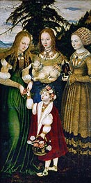 Lucas Cranach | Saint Dorothy Receiving Roses from a Young Boy (St. Catherine Altarpiece - Left Panel) | Giclée Canvas Print