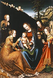 Lucas Cranach | The Mystic Marriage of Saint Catherine of Alexandria with Saints Dorothy, Margaret and Barbara, c.1516/18 | Giclée Canvas Print