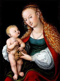 Lucas Cranach | The Virgin and Child with a Bunch of Grapes, a.1537 | Giclée Canvas Print