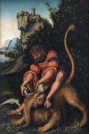 Lucas Cranach | Samson Battling with the Lion, c.1520/25 | Giclée Canvas Print